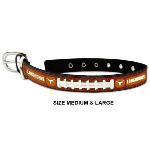 Texas Longhorns NCAA Classic Leather Football Pet Dog Collar by GameWear