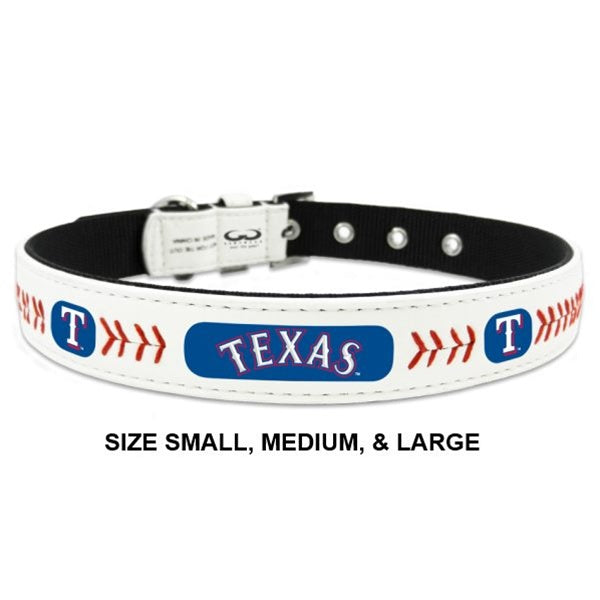 Texas Rangers MLB Classic Leather Baseball Pet Dog Collar by GameWear
