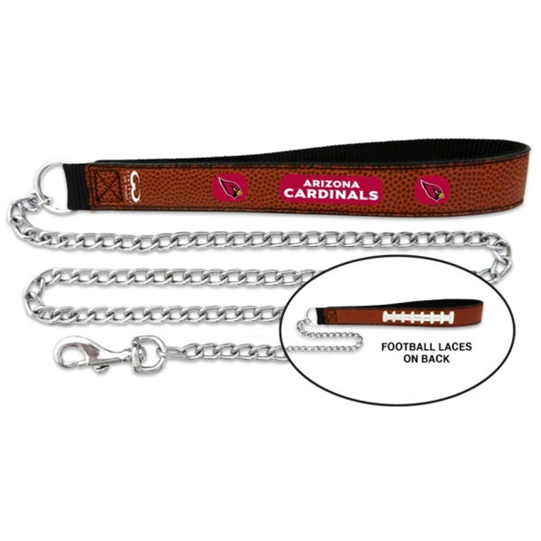 Arizona Cardinals NFL Football Leather and Chain Pet Dog Leash by GameWear