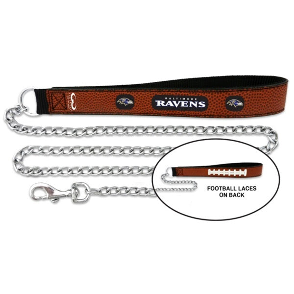 Baltimore Ravens NFL Football Leather and Chain Pet Dog Leash by GameWear