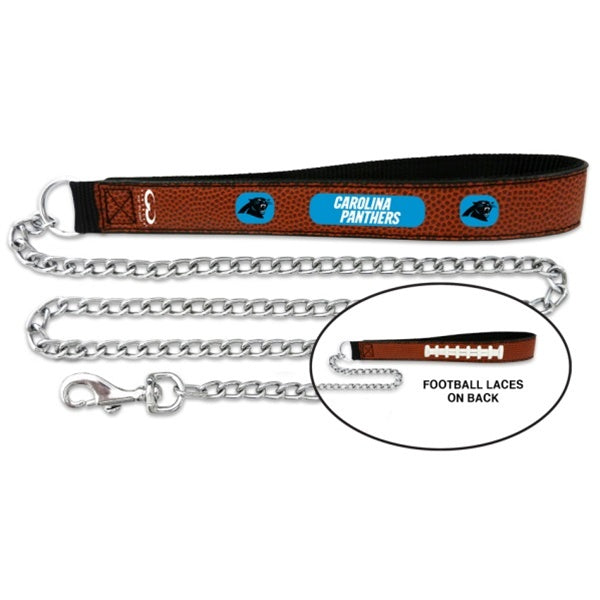 Carolina Panthers NFL Football Leather and Chain Pet Dog Leash by GameWear