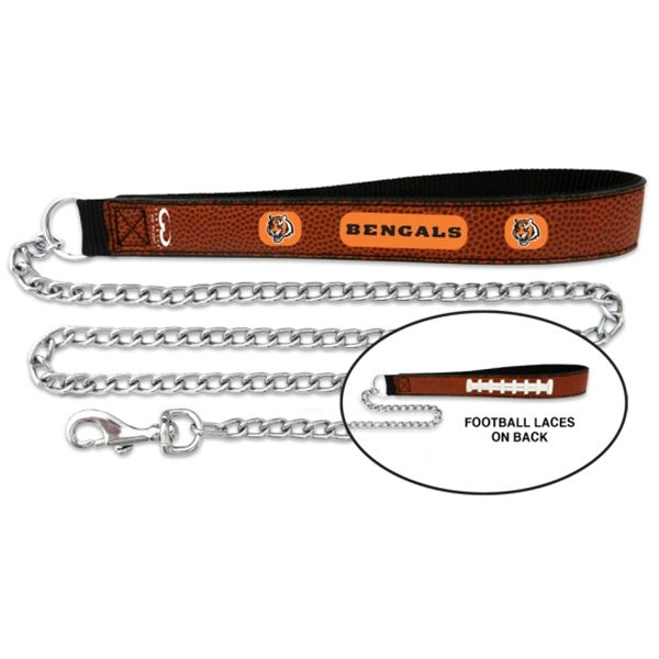 Cincinnati Bengals NFL Football Leather and Chain Pet Dog Leash by GameWear