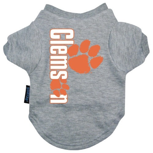 Clemson Tigers Heather Grey Pet Dog T-Shirt by Hunter