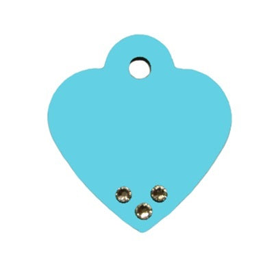 Turquoise Small Heart Pet Dog ID Tag Clear Stones by Hillman Group