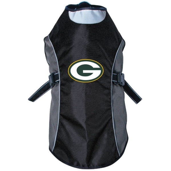 Green Bay Packers Water Resistant Reflective Pet Dog Jacket by Hunter