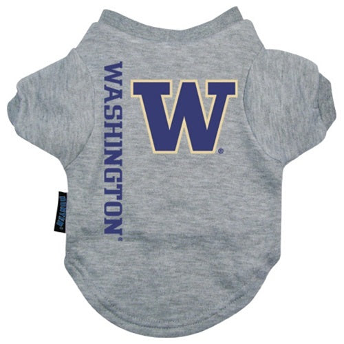 Washington Huskies Heather Grey Pet Dog T-Shirt by Hunter