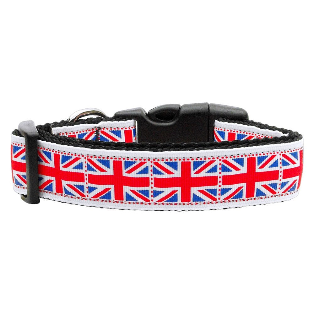 Tiled Union Jack(UK Flag) Nylon Ribbon Pet Dog Collar by Mirage Pet Products