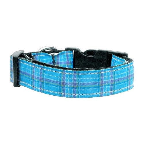 Blue Plaid Nylon Ribbon Pet Dog Collar by Mirage Pet Products