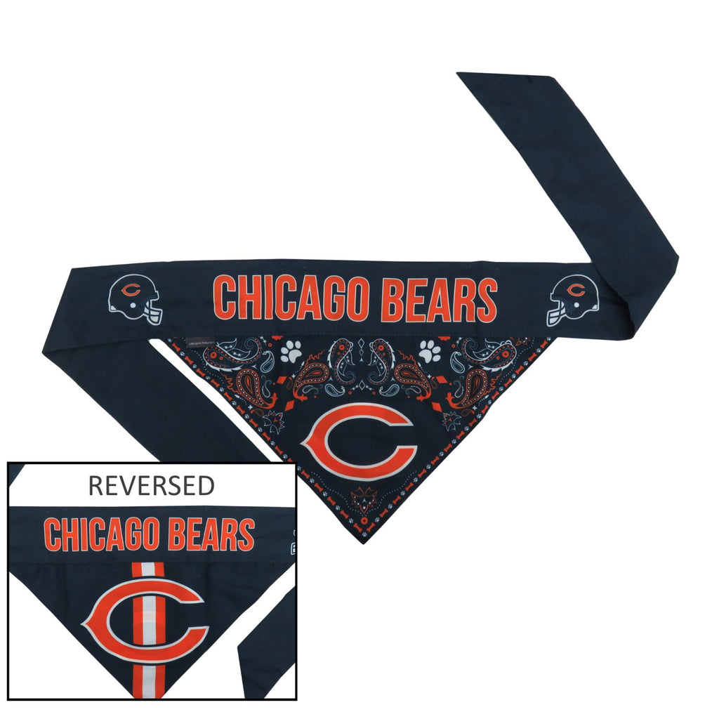 Chicago Bears Pet Dog Reversible Paisley Bandana by Little Earth