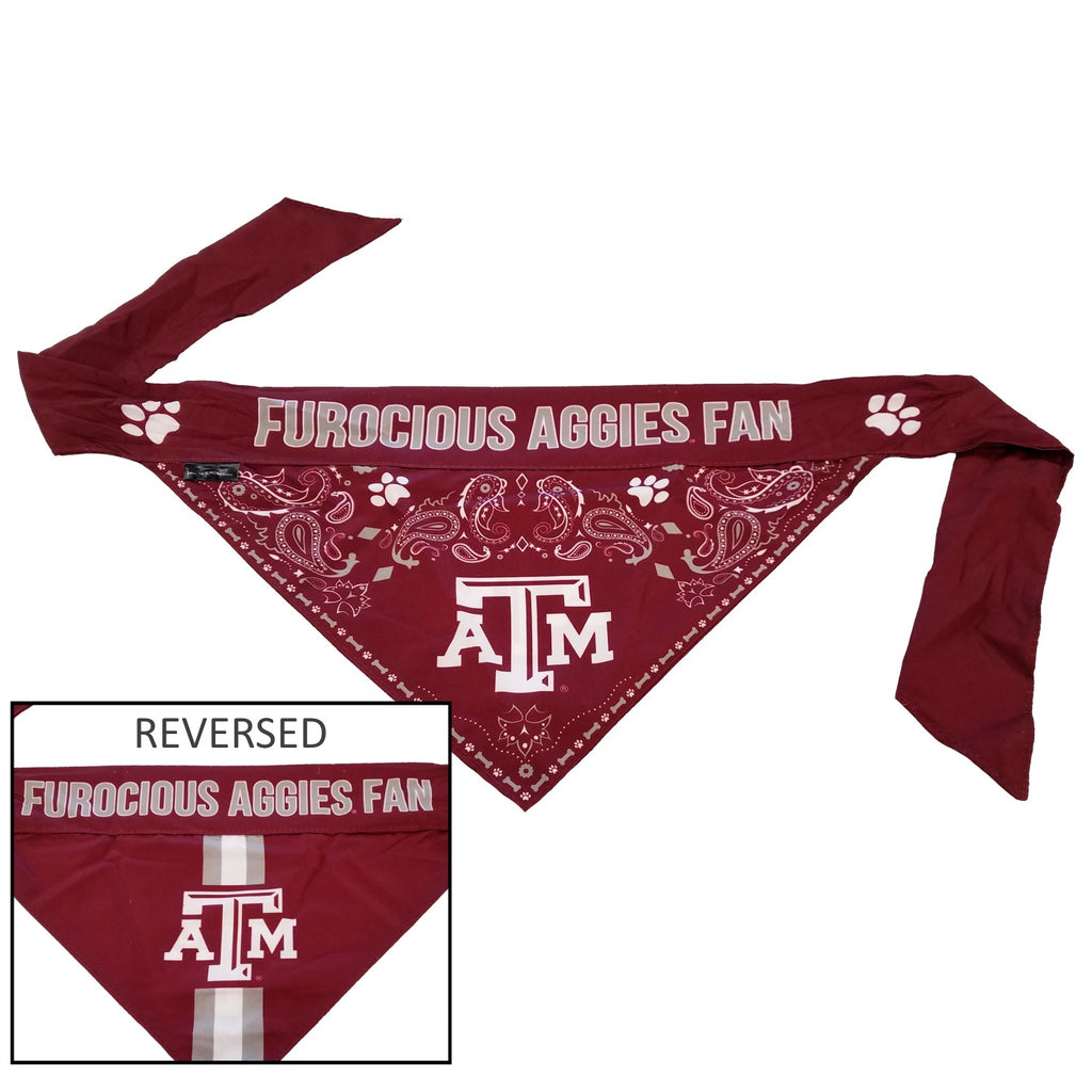 Texas A&M Aggies Pet Dog Reversible Paisley Bandana by Little Earth