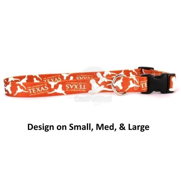 Texas Longhorns Pet Dog Nylon Collar by Little Earth