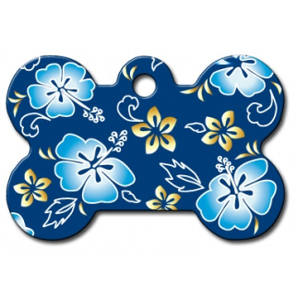 Blue Hawaiian Print Large Bone Pet Dog ID Tag by Hillman Group