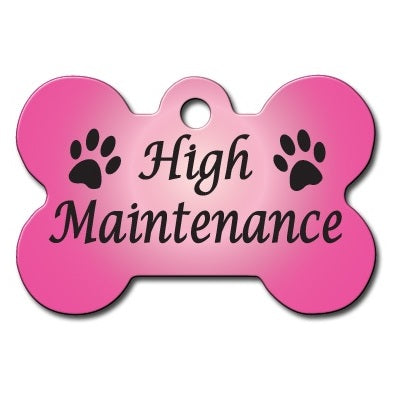 High Maintenance Large Bone Pet Dog ID Tag by Hillman Group