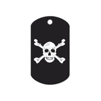 Black Skull And Crossbones Print Military Pet Dog ID Tag by Hillman Group