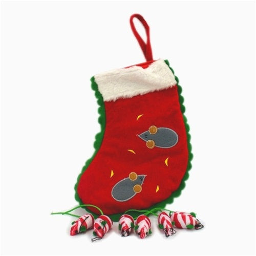 Holiday Stocking with Mice Pet Dog Toy by Pet Edge