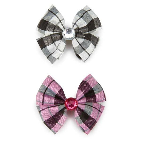Aria Gingham Taffeta Pet Dog Bows by Pet Edge