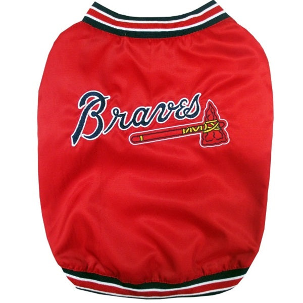 Atlanta Braves Pet Dog Dugout Jacket by Pets First