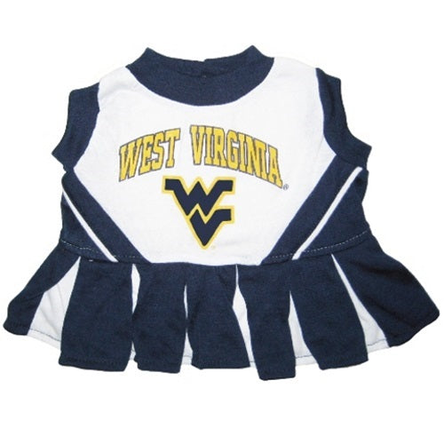 West Virginia Mountaineers Mountaineers Cheerleader Pet Dog Dress by Pets First