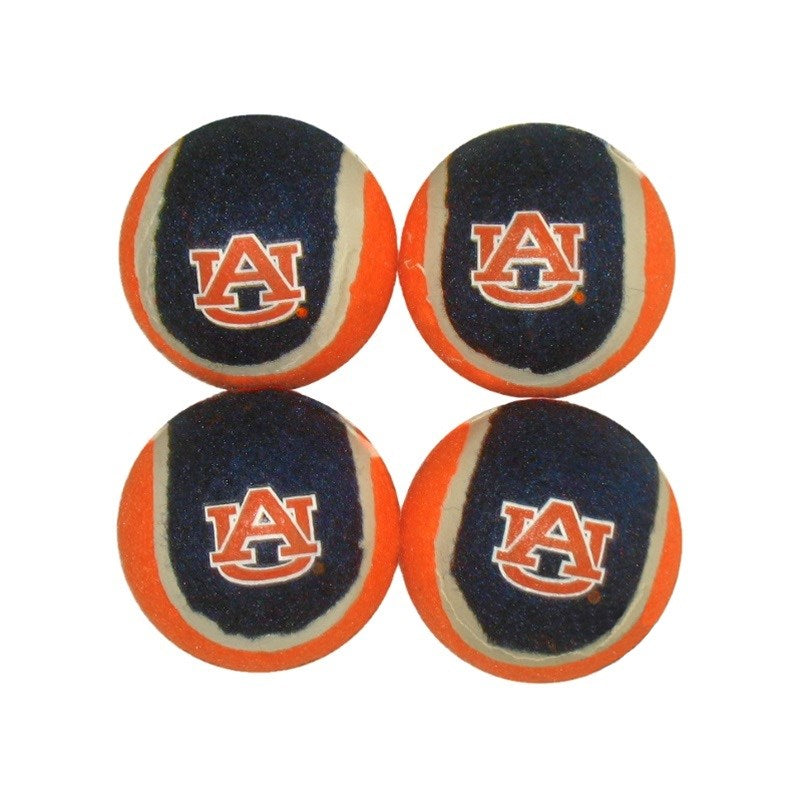 Auburn Tigers Tennis Ball 4-Pak Pet Dog Toy by Pet Goods Manufacturing