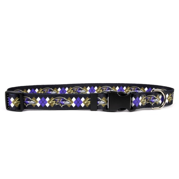 Baltimore Ravens Argyle Nylon Pet Dog Collar by Little Earth