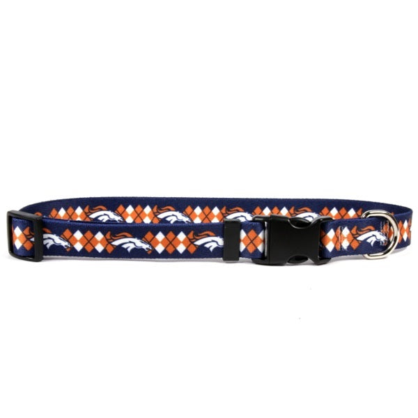 Denver Broncos Argyle Nylon Pet Dog Collar by Little Earth