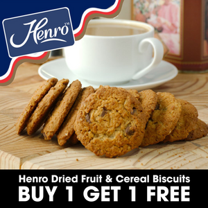 .Henro Dried Fruit & Cereal Biscuits (09/09/2020)  BUY 1, GET 1 FREE
