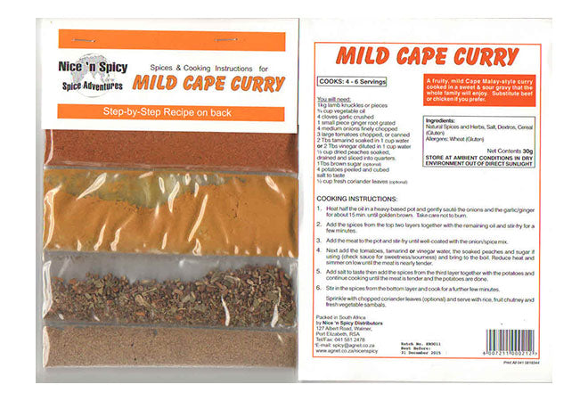 Nice n Spicy Mild Cape Curry Sachet