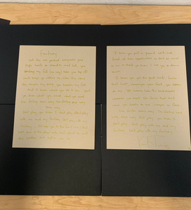 """Fantasy"" double lyric sheet in Gold"