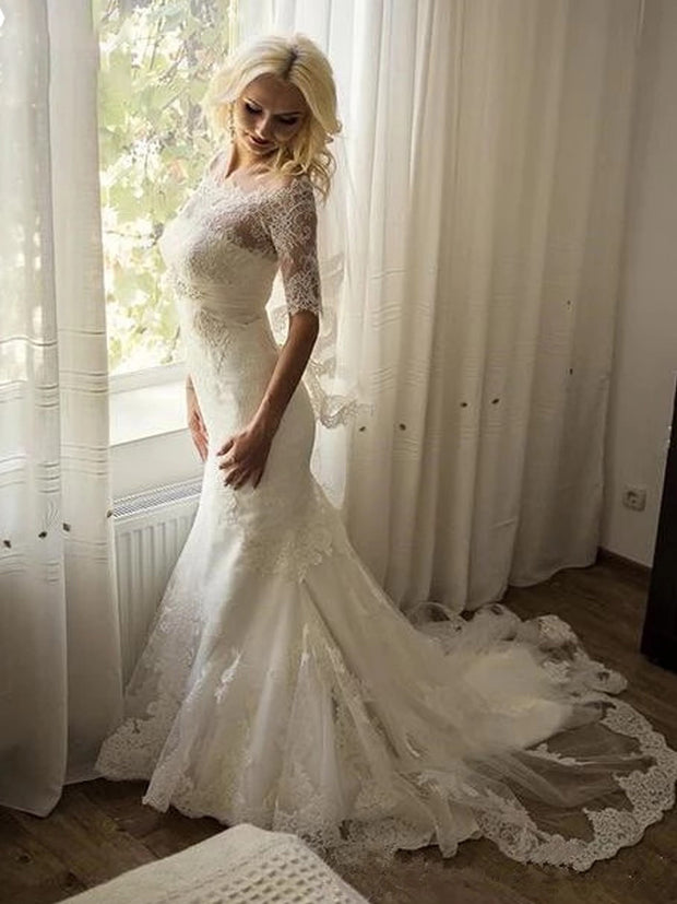 onlybridals Sleeve Lace Ivory Sexy Off Shoulder Mermaid Long Bride Wedding Dress Gown Lace up Vestido