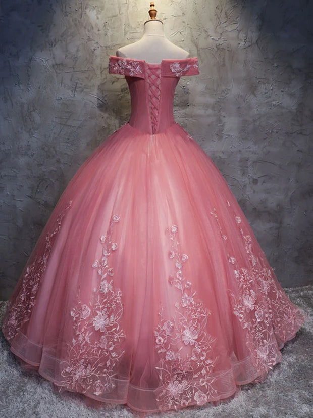 onlybridals Pink sweetheart tulle lace applique long prom gown eveing dress