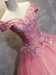onlybridals Pink sweetheart tulle lace applique long prom gown eveing dress - onlybridals