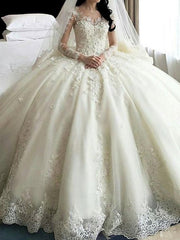 onlybridals Crystal Flowers Wedding Dresses Long Sleeve Muslim Lace Appliques Wedding Gowns Bridal Dress