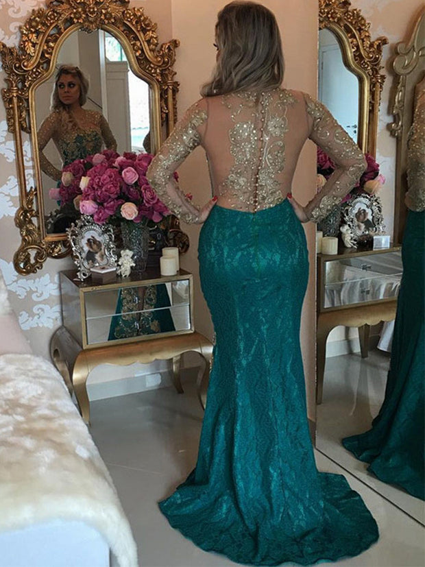onlybridals Sexy Formal Green Gold Lace Evening Dresses Long Sleeve Mermaid Prom Dress Beaded Special Occasion Gown