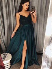 onlybridals Spaghetti-Straps Dark-Green Prom Dress Lace Evening Gowns With Slit - onlybridals