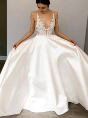 Only bridals Princess Wedding Dresses 2019 Lace Smooth Satin Beach Boho Dress chubby Simple Sleeveless Bride Plus Size Luxury - onlybridals