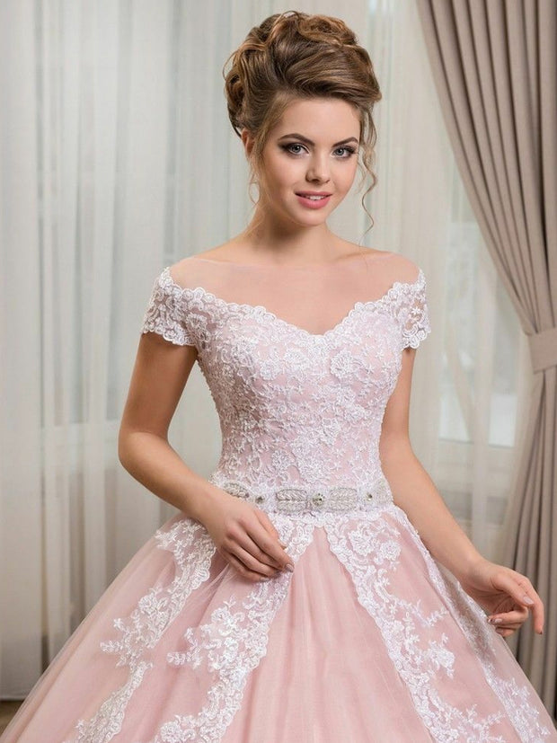 onlybridals Blush White Wedding Dresses Bridal Ball Gowns Plus Size - onlybridals