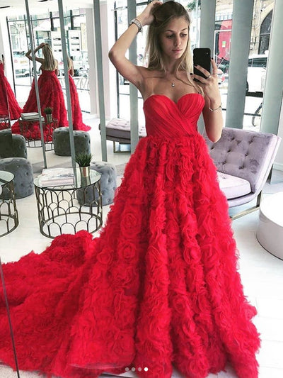 onlybridals Red Sweetheart Neckline Sleeveless A-line Prom Dress Wedding Dress - onlybridals