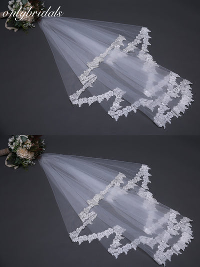 onlybridals Custom made White Bridal Veil Lace Edge wedding veil 2019 Sexy wedding veil - onlybridals