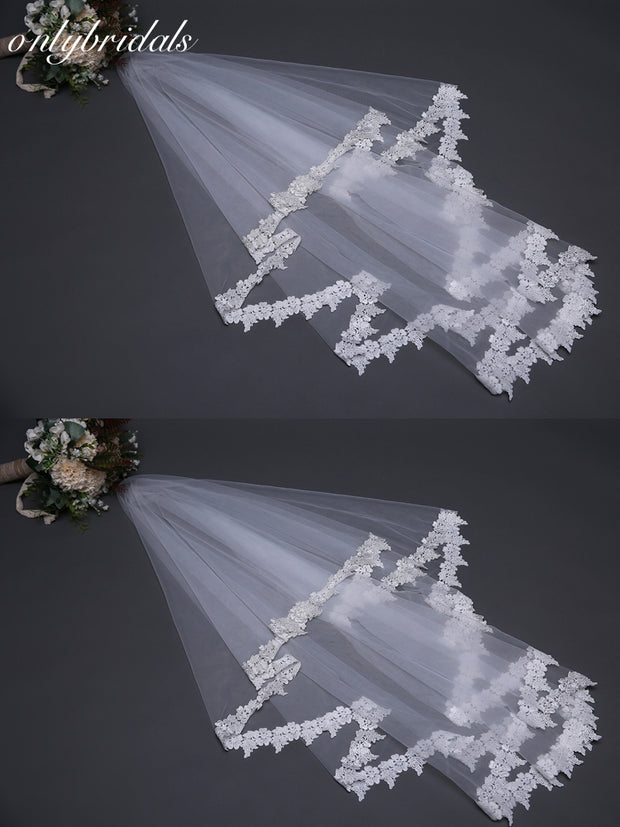 onlybridals Custom made White Bridal Veil Lace Edge wedding veil 2019 Sexy wedding veil