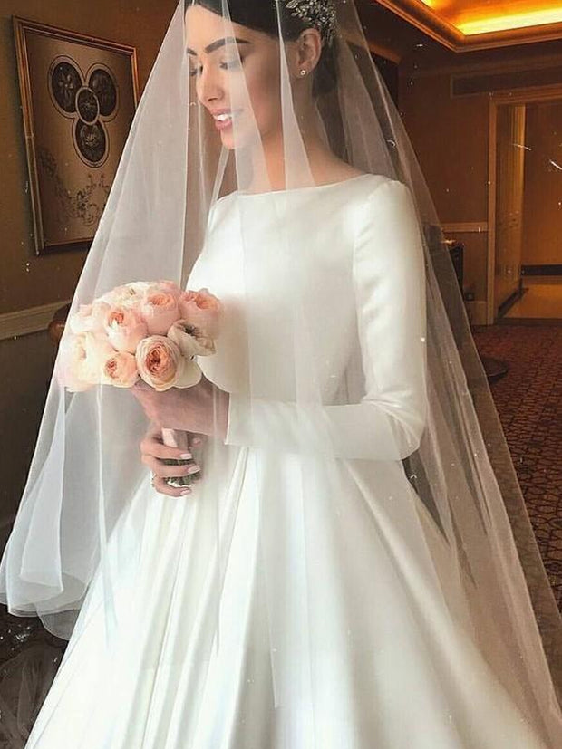 onlybridals Long Sleeves Satin Wedding Dresses Button Back A-Line Simple Bridal Gowns Sweep Train Scoop Customized - onlybridals