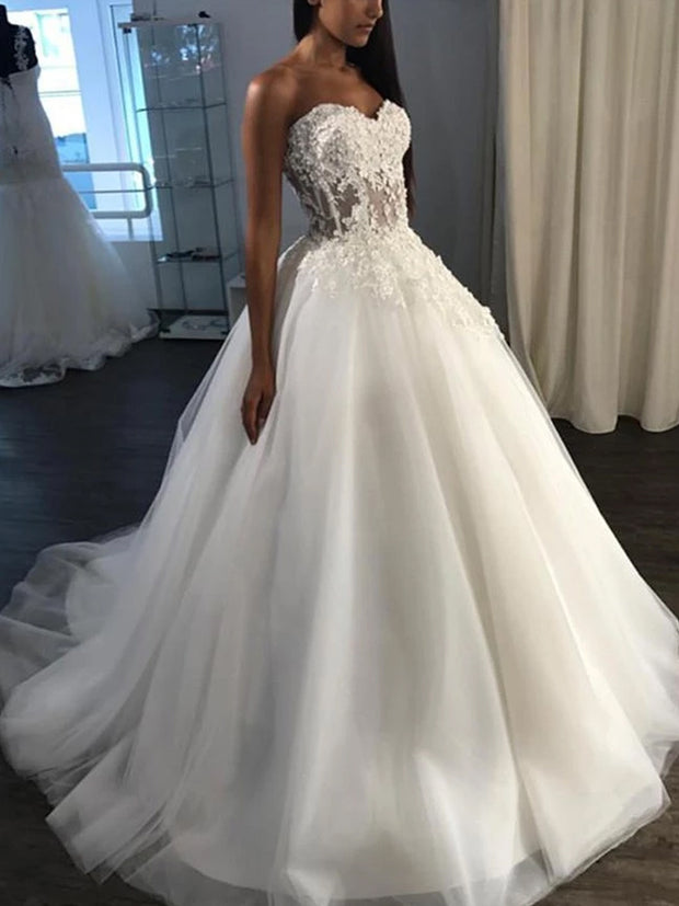 onlybridals Lace wedding dress Appliques wedding dress strapless wedding dress Tulle Wedding Dresses - onlybridals