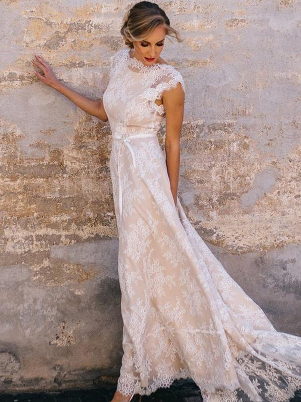 onlybridals Vintage Champagne Lace Bohemian Wedding Dress A Line Cap Sleeve Soft Tulle Bow Sash Wedding Bridal Gown Vestidos de Novia 2020 - onlybridals