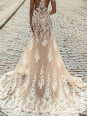 onlybridals Sexy Nude Off Shoulder Wedding Dress Champagne Mermaid V Neck Lace Bridal Gown - onlybridals