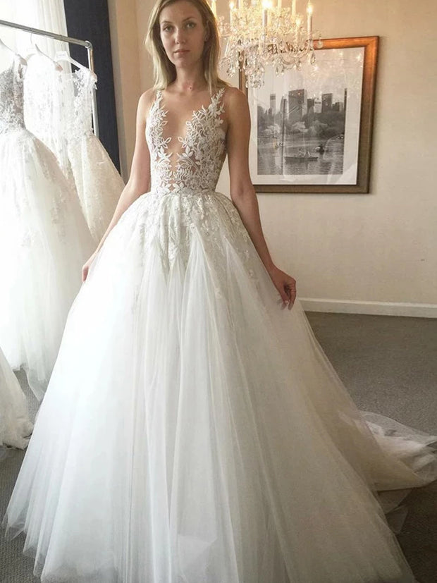 onlybridals Cheap Ball Gown V-Neck Ivory Open Back Wedding Dress with Appliques - onlybridals
