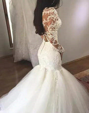 onlybridals Women's Luxury V-neck Mermaid Wedding Dress White Long Sleeves Wedding Gown Lace Illusion