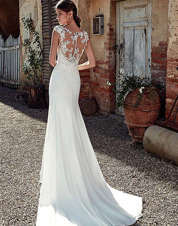 onlybridals Satin Bateau Neckline Mermaid Wedding Dresses With Lace Appliques Sheer Bridal Dress Illusion Back - onlybridals