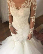 onlybridals Women's Luxury V-neck Mermaid Wedding Dress White Long Sleeves Wedding Gown Lace Illusion - onlybridals