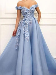 onlybridals 2019 Graduation Ball Dress Show Shoulder Graduation Ball Dress Flower Patterned Princess Dress Tulle Show Back