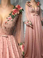 onlybridals A-line Prom Dresses V neck Pink Long Prom Dress Evening Dresses With 3D Flower Long Sleeves Evening Gown - onlybridals
