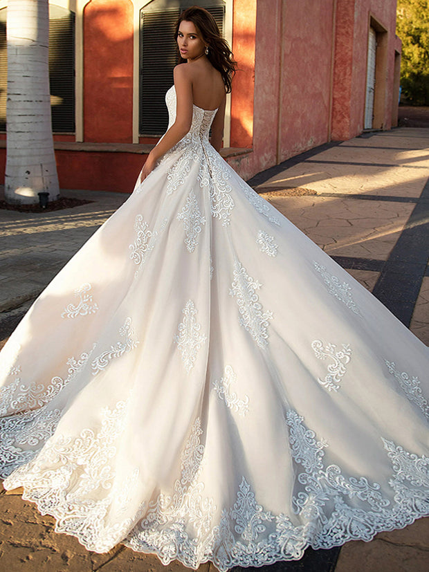 onlybridals Vestido de Novia 2020 A-line Wedding Dresses Lace Up Back Vintage Robe de Mariee Sleeveless Bridal Gowns - onlybridals